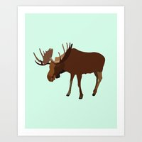 moose Art Prints featuring Moose by Michael Lynch