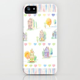 Little Houses: Chain of Hearts iPhone Case