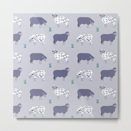 purple sheep pattern Metal Print