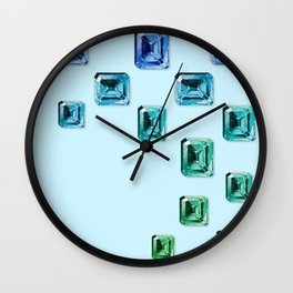Emerald-cut Gemstones Pattern | Seafoam Wall Clock