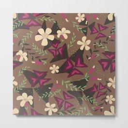 Purple Shamrock Floral Layered Pattern / Brown Metal Print