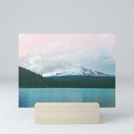 Mountain Lake - Nature Photography - Turquoise Teal Pink Mini Art Print