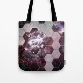 honeycomb galaxy // pink & silver Tote Bag