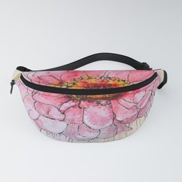 Botanical Flower Pink Zinnias in Pitcher Fanny Pack