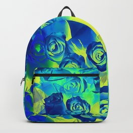 bouquet of roses texture pattern abstract in blue and green Backpack