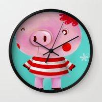piglet Wall Clocks featuring Piglet by Gabriela Granados
