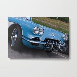 Corvette in Frost Blue Metal Print