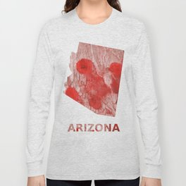 Arizona map outline Red Pink streaked wash drawing Long Sleeve T-shirt