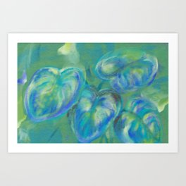 Green and White Spring Leaves Art Print