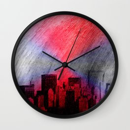cityscape and colored sky -3- Wall Clock