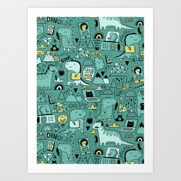Communication Dinosaurs Art Print
