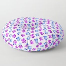 Colorful Paw Prints Cat Dog Owner Watercolor  Floor Pillow