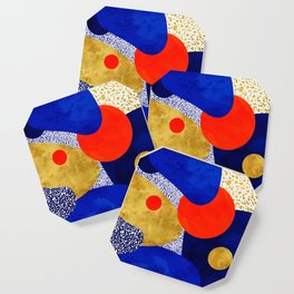 Terrazzo galaxy blue night yellow gold orange Coaster