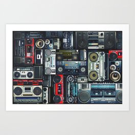 Vintage wall full of radio boombox of the 80s Art Print