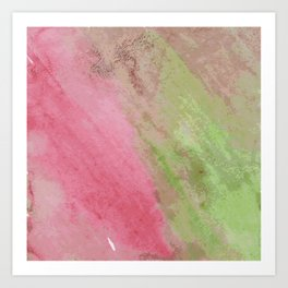 Abstract pink green watercolor ombre brushstrokes Art Print