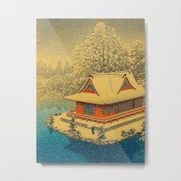 Vintage Japanese Woodblock Print Winter Red Pagoda Falling Show Blue Lake Metal Print