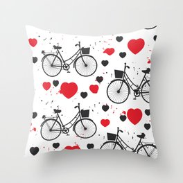 seamless pattern black bike and red heart on white background. Vector illustration Throw Pillow