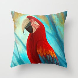 Technicolor Macaw Throw Pillow