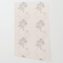 Woman with Flowers Minimal Line II Wallpaper