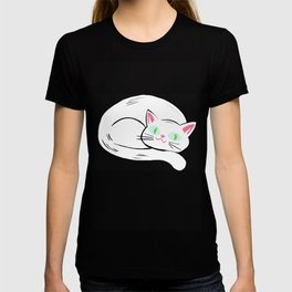 Cozy White Kitty Pattern T-shirt