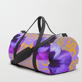 FOUR  PURPLE PANSIES ON LILAC  BROCADE GARDEN Duffle Bag