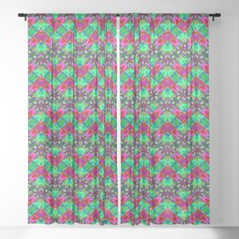 Stitched Vibrant Zigzags Sheer Curtain