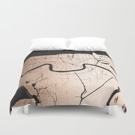 New Orleans Rose Gold and Black Map Duvet Cover