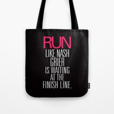 Run like Nash Grier is waiting at the Finish Line Tote Bag