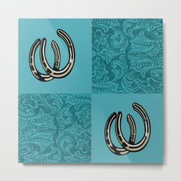 Turquoise Leather Print With Horseshoes Metal Print