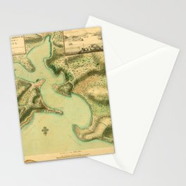 Map Of Antigua 1752 Stationery Cards