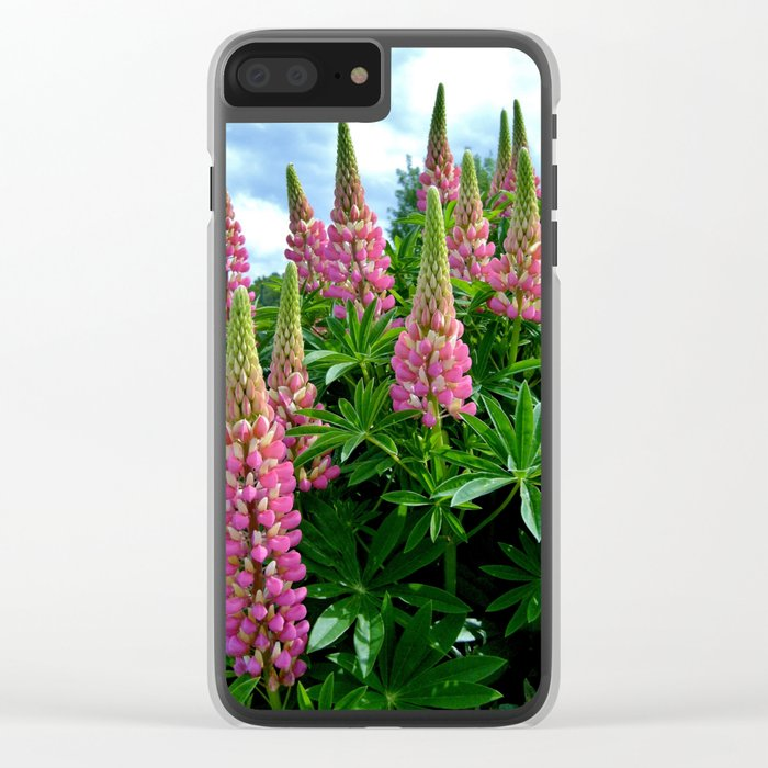 Rose Lupins in the Garden Clear iPhone Case