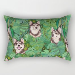 Pomsky Garden Rectangular Pillow