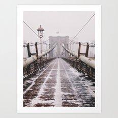 Snowy Brooklyn Bridge Art Print