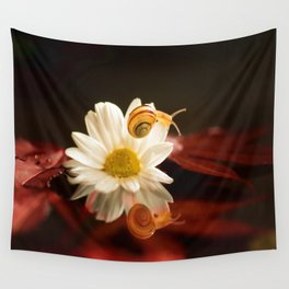 Baby Snail on a flower in the water  Wall Tapestry