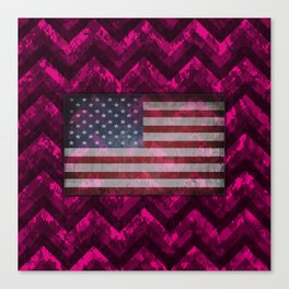 Hot Pink Digital Camo Chevrons with American Flag Canvas Print