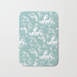 Traditional Hand Drawn Japanese Wave Ink Bath Mat