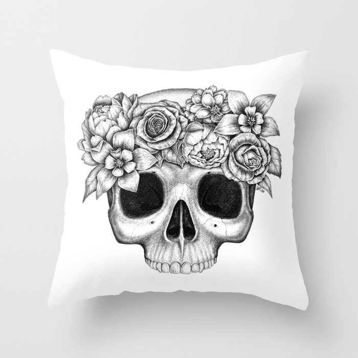 Flowerskull Throw Pillow