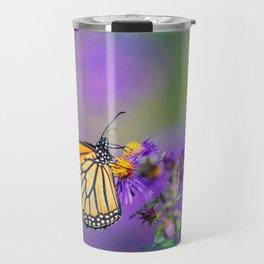 Monarch butterfly on aster purple flowers Travel Mug