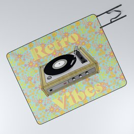 Retro Vibes Record Player Design in Yellow Picnic Blanket