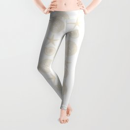 Beachy Seashell Pattern Leggings