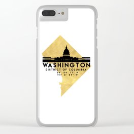 WASHINGTON D.C. DISTRICT OF COLUMBIA SILHOUETTE SKYLINE MAP ART Clear iPhone Case
