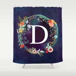 Personalized Monogram Initial Letter D Floral Wreath Artwork Shower Curtain