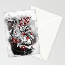 White Koi and sakuras Stationery Cards