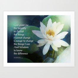 Serenity Prayer Lotus One Art Print