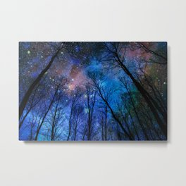 Black Trees Dark Blue Space Metal Print