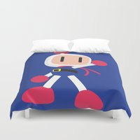 nintendo Duvet Covers featuring Bomberman - Minimalist - Nintendo by Adrian Mentus