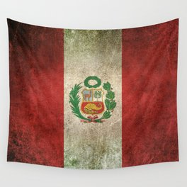 Old and Worn Distressed Vintage Flag of Peru Wall Tapestry