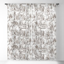 Alice in Wonderland | Toile de Jouy Pattern | Brown and White | Vintage Pattern | Victorian Gothic | Sheer Curtain