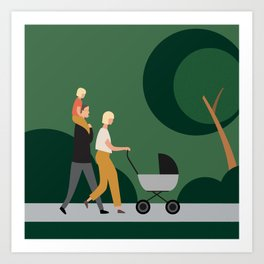 Family in the Park, Newtown, NZ Art Print
