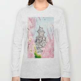 Himeji Castle , Art Watercolor Painting print by Suisai Genki , cherry blossom , Japanese Castle Long Sleeve T-shirt